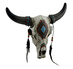 DeLeon Collections Rustic Southwest Bull Skull with Feathers, Beads & Faux Turquoise Stone - Wall Hanging