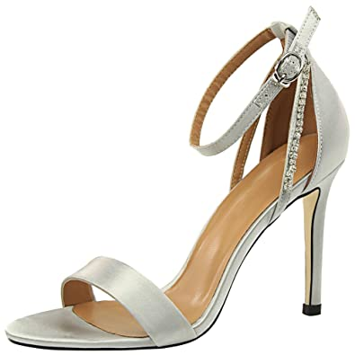 wealsex Escarpins Sandales Satin Strass Femme Talon Haute Aiguilles Sexy  Bout Ouvert Bride Cheville Boucles Chaussure 2b122b9ebce6