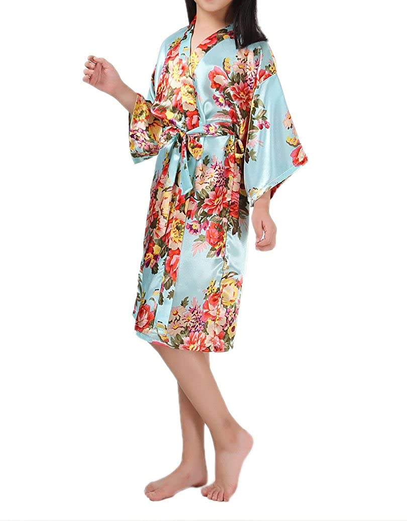 Lesimsam Kid Girls Stain Kimono Peacock Flower Robe Bathrobe Nightgown for Spa Party Wedding Birthday