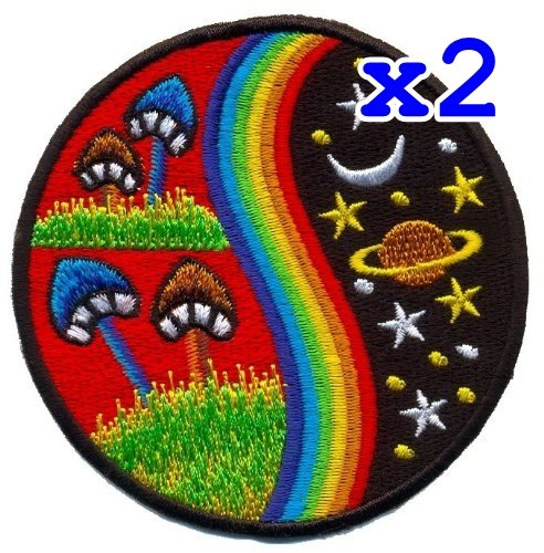Made Applique (Pack of 2 Mushroom Hippie Weed Boho Retro Pot Lsd Love Peace Applique Iron-on Patch T-24 Made of Thailand)