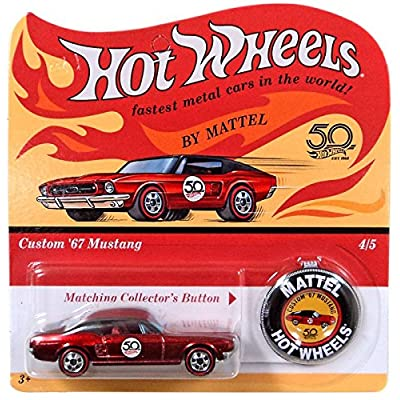 Hot Wheels 2020 50th Anniversary Originals 4/5 - Custom '67 Mustang (Red) with Button: Toys & Games