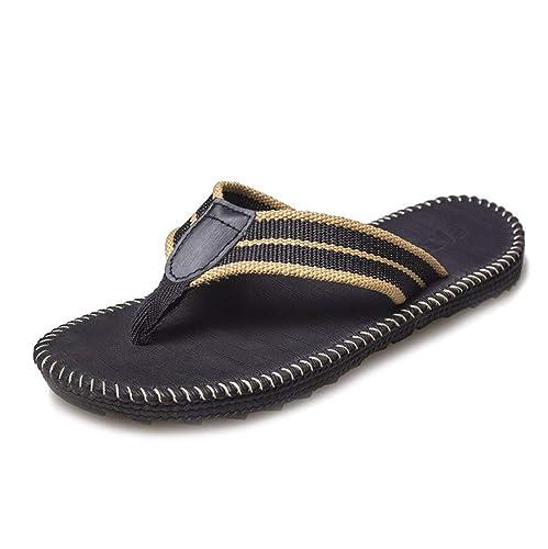 1cdb561060c1 Mens Sandals Smoothy Classic Woven Strap Soft Waterproof Flip Flops Black B  39