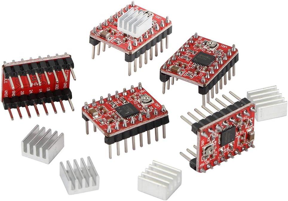 Zopsc 5PCS 3D Printer Accessories Kit A4988 Stepper Motor Drive Module for Low Power Dissipation Synchronous Rectification.