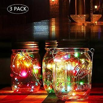 Mason Tarro solar luces Con Frasco tapa Impermeable, Jardin Exterior Luces Decorativas Para árbol Pamino la Fiesta de Boda (multicolor-3pcs): Amazon.es: Iluminación