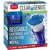 Clear Genius Reusable Cartridge with Filter Pod SU-11, Includes 1 Reusable Cartridge and 1 Filter Pod Refill, Filter Pods Last 2 Months, Blue, Fits Brita & Pur