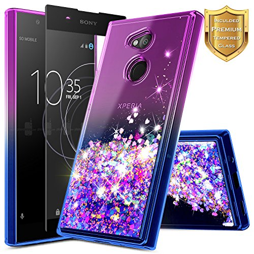 NageBee Compatible with Sony Xperia XA2 Ultra Case w/[Full Coverage Tempered Glass Screen Protector] Glitter Liquid Quicksand Waterfall Floating Flowing Sparkle Shiny Girls Cute Case (Purple/Blue)
