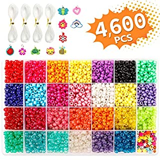 Pony Beads, 4,600 pcs 9mm Pony Beads Set in 27 Colors with Letter Beads, Star Beads and Elastic String for Bracelet Jewelry Making by INSCRAFT
