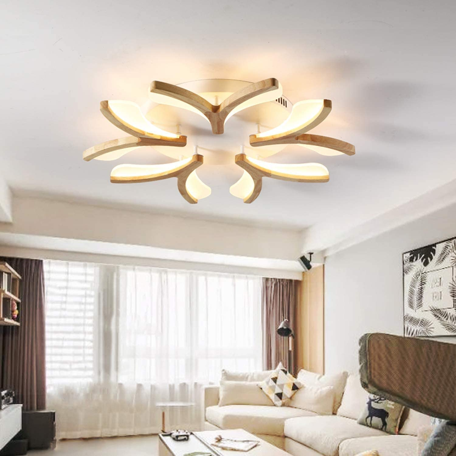Amazon Com Wd Chandelier Wood Living Room Lights Led Ceiling Lamp Simple Modern Wood Bedroom Lamp Study Home Kitchen