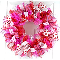 Valentine's Day Mesh Door Wreath; Red Pink White