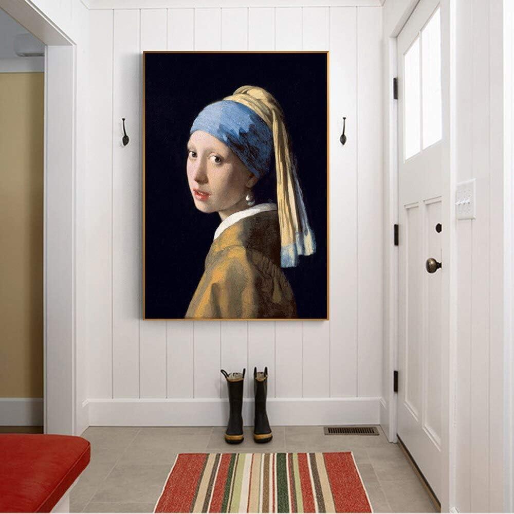 sanzangtang Pintura sin Marco Frescos Famosos de Chicas con aretes de Perlas, Cuadros de Retratos clásicos, decoración Moderna para el hogar ZGQ2523 50X70cm