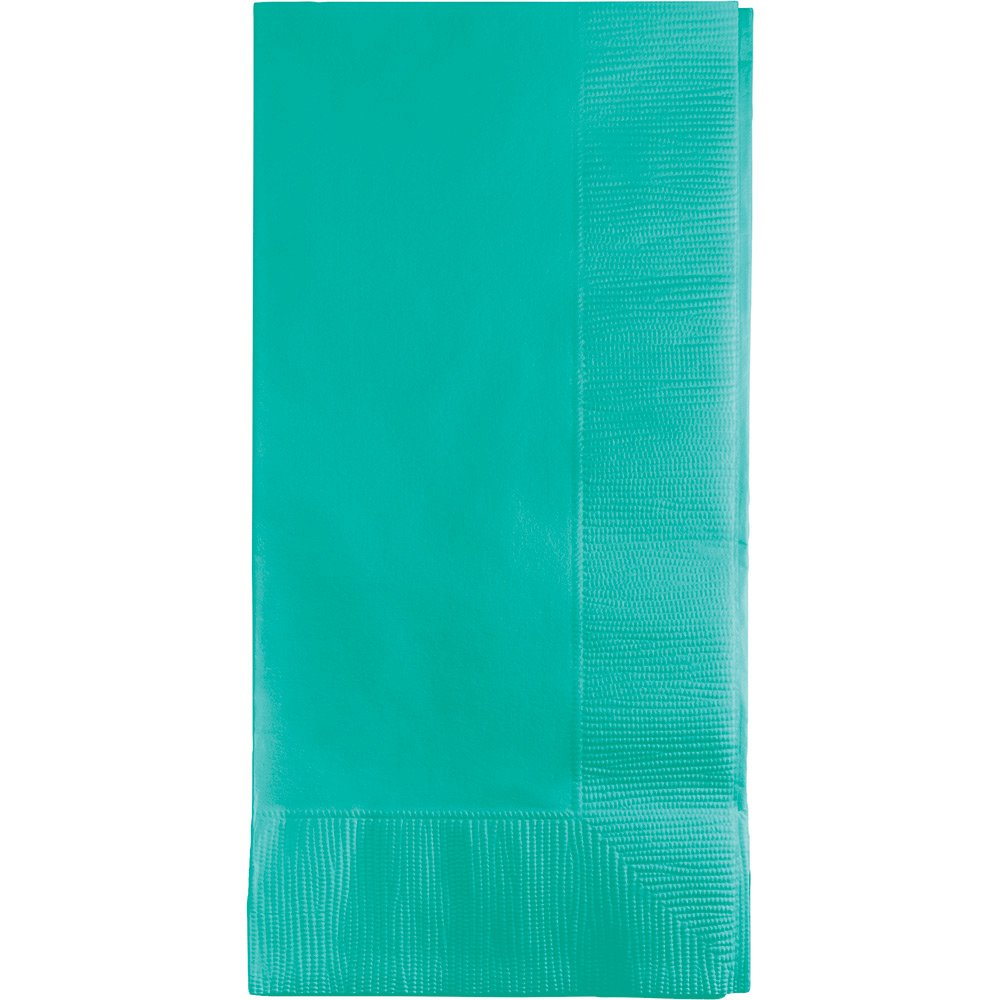 Creative Converting 324790 50 Count 1/8 Fold Touch of Color Paper Dinner Napkins, Teal Lagoon