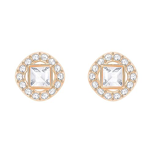 d23c2287abe54 Swarovski Crystal White Angelic Square Rose-Gold Plated Earrings ...