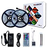RoLightic RGB Led Light Strip Kit,32.8ft (10M) 5050 300LEDs,DC 12V Waterproof Led Strip Lights with 44Key Remote Controller and Power Adapter for Home,Kitchen,Bedroom,Cabinet,Backlight and More