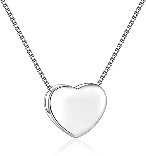 """Charm 18/"""" Italian Box Chain Sterling Silver Double Floating Hearts Pendant"""