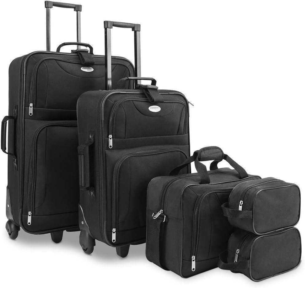 Deuba Juego de maletas equipaje de viaje 5 piezas conjunto 2 maletas 1 bolsa 2 neceseres con ruedas asas mango telescópico
