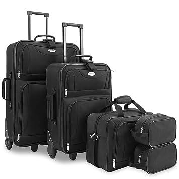 Conjunto de equipaje Negro 2 maletas de viaje y 2 bolsas sistema de correa para conectarlas con ruedas mango telescópico