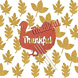 Jetec 38 Pieces Thanksgiving Day Glitter Cake Topper Set Turkey Thankful Cake Toppers Fall Leaves Glitter Cupcake Toppers Food Picks