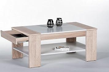 Couchtisch Wohnzimmertisch Weiß Holz Sonoma Eiche Braun Rechteckig  Zwischenablage Und Schublade Modern Finley Plus