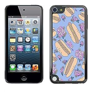 TopCaseStore / la caja del caucho duro de la cubierta de protección de la piel - Floral Random Blue Food - Apple iPod Touch 5
