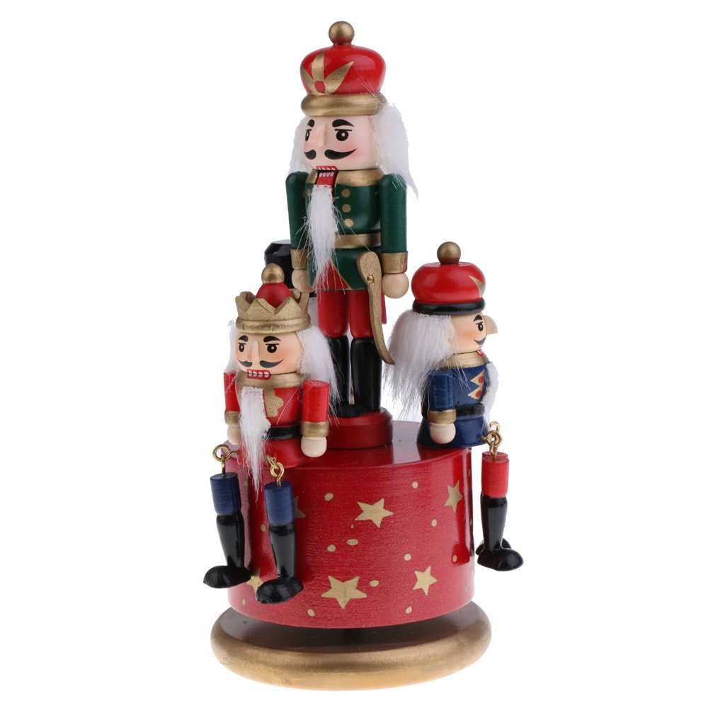 MonkeyJack 20cm Classic Hand Painted Wooden Nutcracker Toy 4 Soldier Musical Box Home Christmas Decor Display Ornaments Kids Gift Red Base