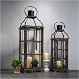 Glitzhome Farmhouse Wood Metal Lanterns Decorative Hanging Candle Lanterns Set of 2 (No Glass)