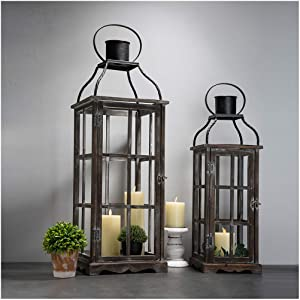 Glitzhome Farmhouse Wood Metal Lanterns Decorative Hanging Candle Lanterns Set of 2