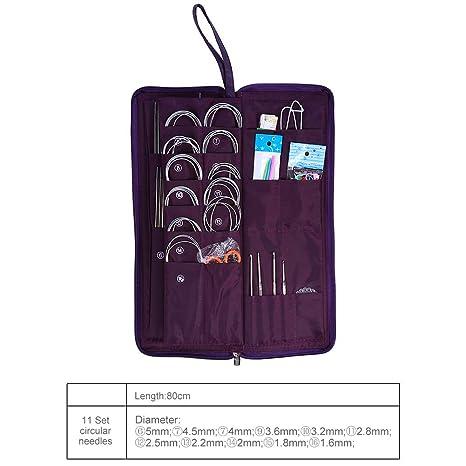 20 verschiedene Größen Rund Stricken Nadeln 104 stücke Edelstahl Gerade Circular Strick Nadeln Häkeln Haken Weave Set