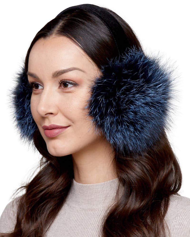 Fox Fur Ear Muffs with Velvet Band in Denim Blue