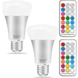 Yangcsl 10W A19 Timing Remote Controller RGBW Color Changing LED Light Bulbs,Double Memory and Wall Switch Control,Daylight White and Color Ambiance Extension (Pack of 2)