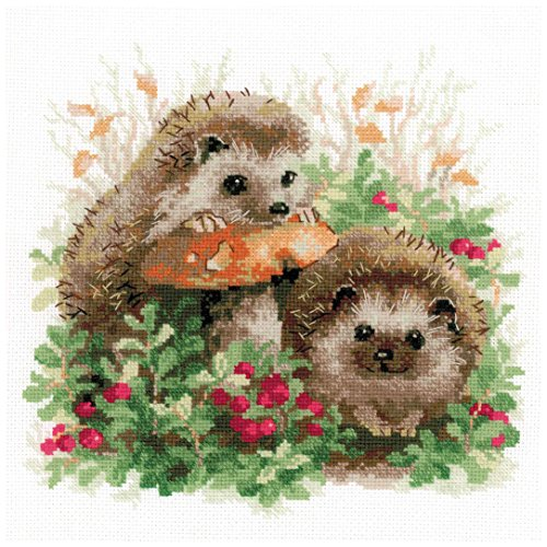 RIOLIS 1469 - Hedgehogs In Lingonberries - Counted Cross Stitch Kit 9.75 x 9.75 Zweigart 14ct. White AIDA 23 Colors