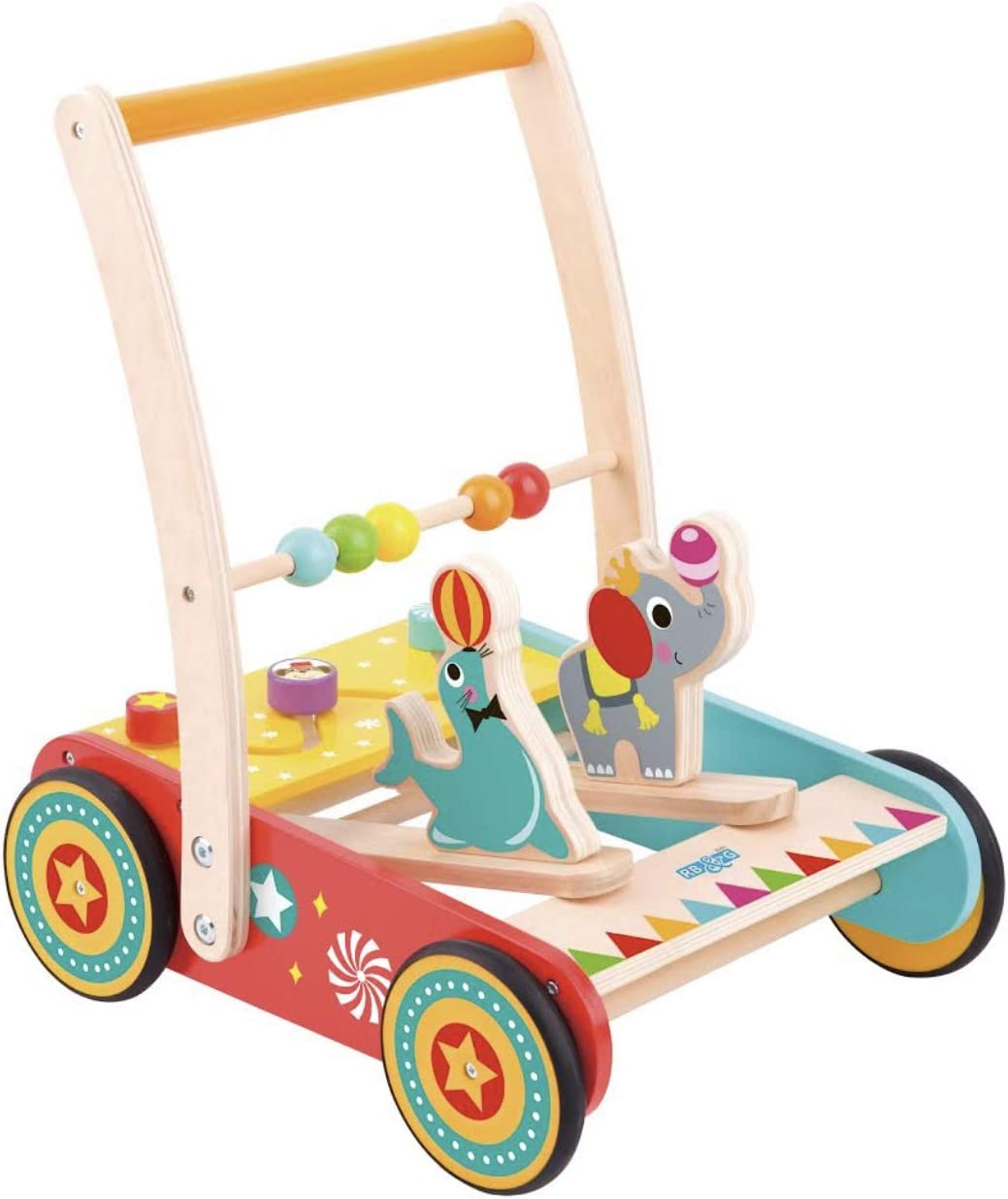 Carrito de madera con ruedas de goma para niños