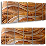 Yihui Arts Abstract Metal Wall Art for Living Room Hand Grind on Aluminum 3D Artwork Modern Pictures for Bedroom Dinning Deco