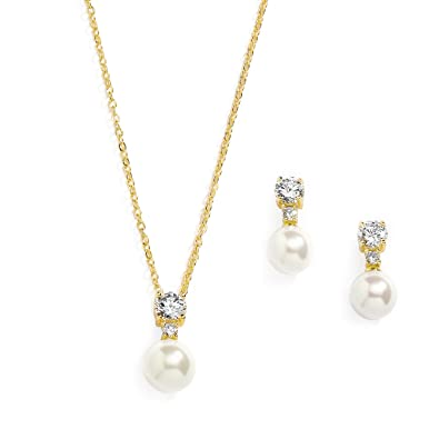c20ca8fcf Image Unavailable. Image not available for. Color: Mariell Gold CZ & Ivory  Pearl Wedding Necklace and Earrings Jewelry Set for Bridesmaids & Brides