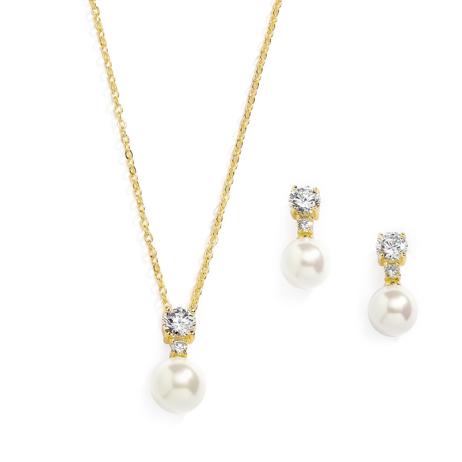 Mariell Gold CZ & Ivory Pearl Wedding Necklace and Earrings Jewelry Set for Bridesmaids & Brides by Mariell