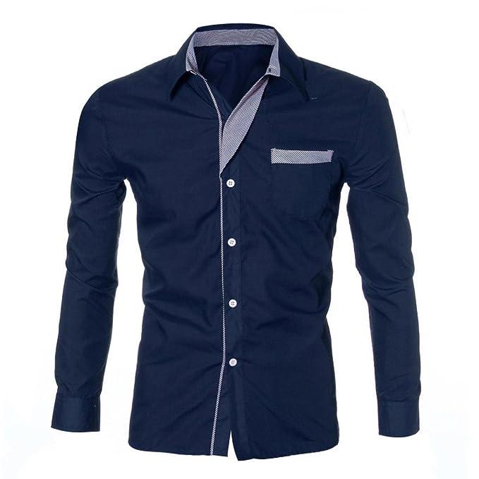 Blusa Hombre Yesmile Camiseta Moda para Hombre de Lujo de Manga Larga Casual Slim Fit Elegantes Camisas de Vestir: Amazon.es: Ropa y accesorios