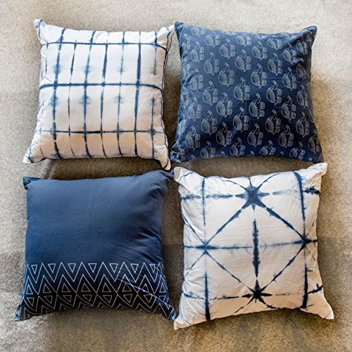 (Bohemian Cotton Designer Sofa Cushion Cover Decorative Set Of 4 18x18 With Zipper For Bedroom Couch Indigo Elephant Shibori Tie Dye Block Print Pillow Throws Cases Party Home Décor Standard Size)
