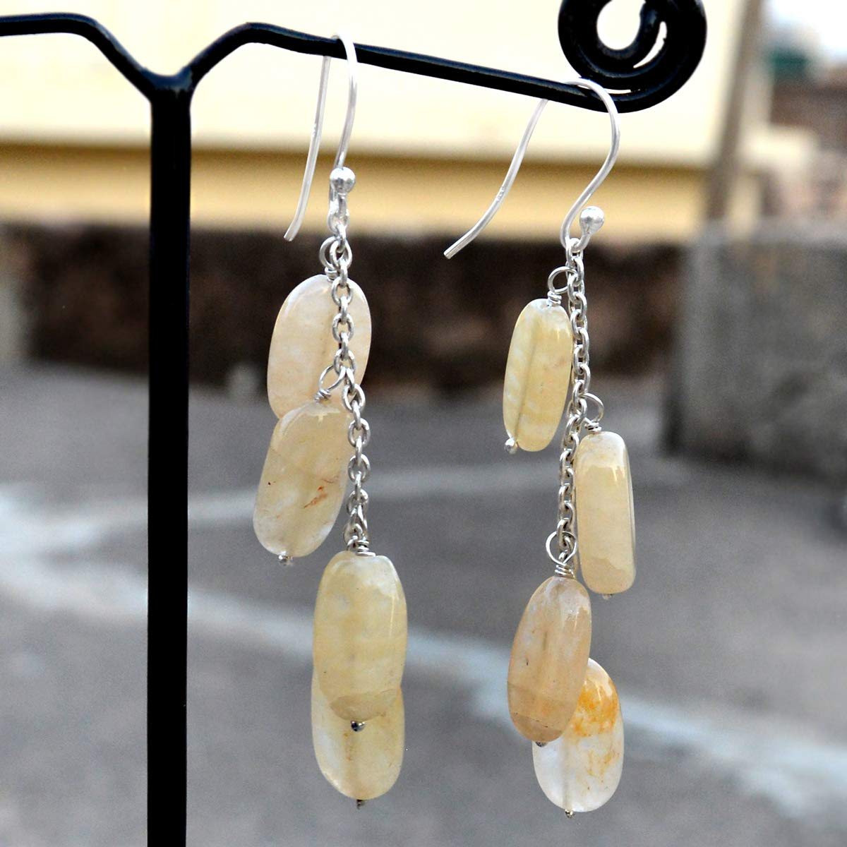 Dangle Chain Earring Jaipur Rajasthan India Handmade Jewelry Manufacturer 925 Sterling Silver Quartz Gemstone