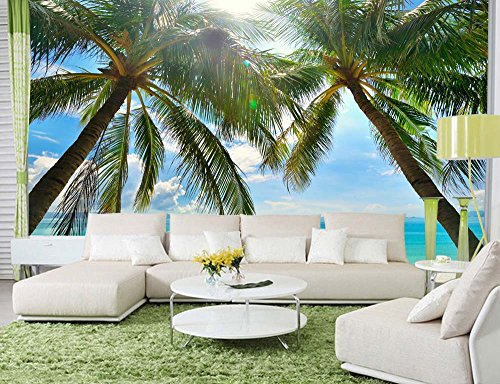 wall26 - Large Wall Mural - Tropical Scenery with Palm Trees | Self-Adhesive Vinyl Wallpaper/Removable Modern Decorating Wall Art - 66'' x 96'' by wall26 (Image #1)