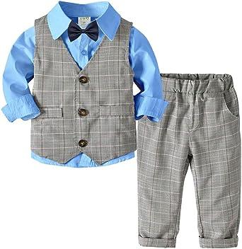Traje Conjunto de Bebés Niños 4 Piezas Elegante Camisa + Chaleco + ...