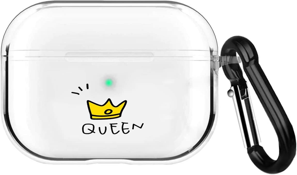 Compatible Airpods Pro Case,Clear Soft TPU Protective Shockproof Cover Accessories with Keychain for Apple Airpods PRO Charging Case [Front Led Visible],for Couple Friends Girls Kids Teens-Queen