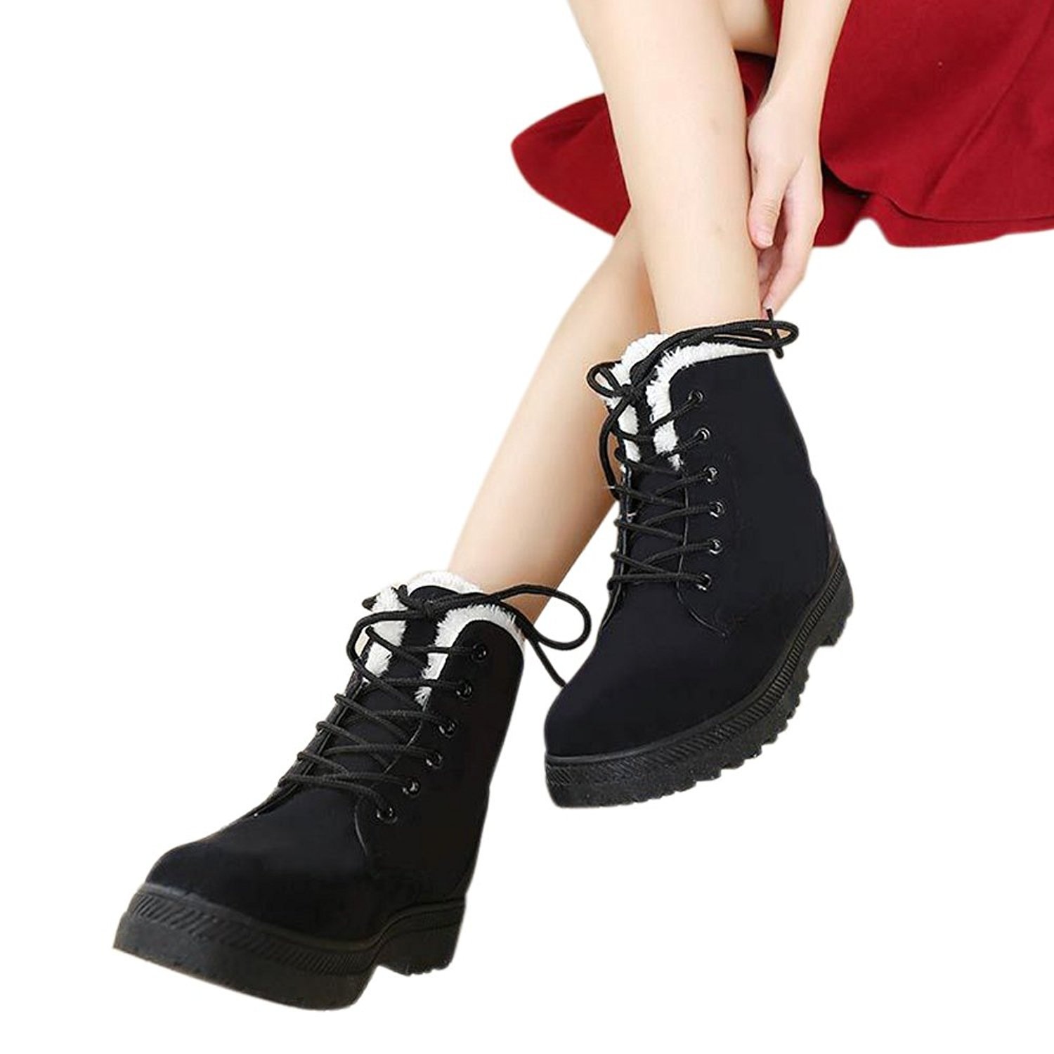 NOT100 Womens Snow Boots for Winter Ankle Boots Combat Walking Shoes Booties Black Vegan Size 9.5 9 1/2 by NOT100 (Image #2)