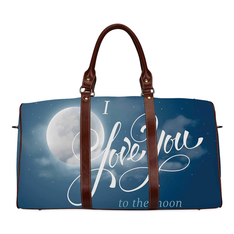 I Love You Fresh Travel Bag,Night Sky with Full Moon between Stars Cloud Dramatic Romance Wedding Image for Travel,20.8''L x 12''W x 9.8''H by YOLIYANA