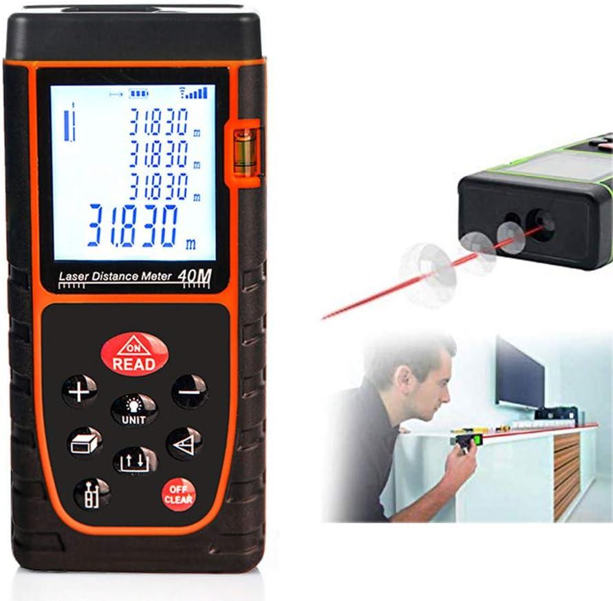Medidor Laser De Distancia 40m, Profesional Metro Laser,Telemetro Laser Con PrecisióN 1mm,Niveles De Electronico,Impermeabilidad IP54, Niveles De Burbuja, MedicióN De Distancia,Red
