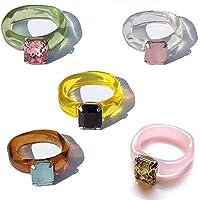 MAICOLA Juego de 5 anillos de piedras preciosas de colores, anillos de resina, anillos de dedo de diamantes retro…