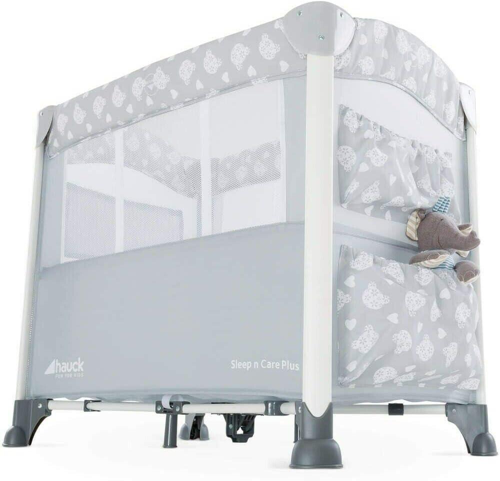 Teddy Grey New Hauck Sleep n Care Plus Travel Cot//Bedside Crib