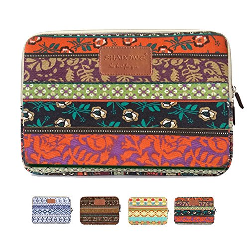 Notebook Sleeve Top Loading (Shadow Elec. Laptop Sleeve, Bohemian Style Canvas Fabric Ipad/ Laptop / Notebook Computer / MacBook / MacBook Pro / MacBook Air Sleeve Case Bag Cover, Mystic Forest)
