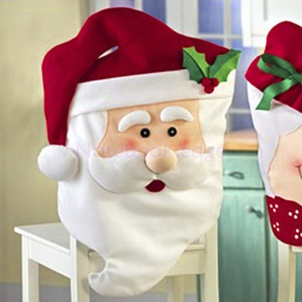 Adorable Mr Santa Claus Christmas Kitchen Dining Table Chair Seat Cover by notebook.edge
