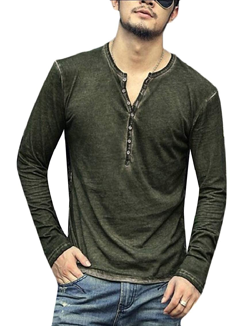 Yayu Mens Long Sleeve T-Shirts Casual Solid Cotton Tee Tops