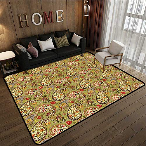 - Carpet Flooring,Paisley Decor,Eastern and Persian Oriental Style Tulip Floral Textile Pattern,Green Red Cream and Paprika 71