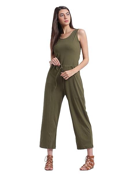 d744e0ef964 Rigo Solid Khaki Green Jumpsuit for Women  Amazon.in  Clothing ...